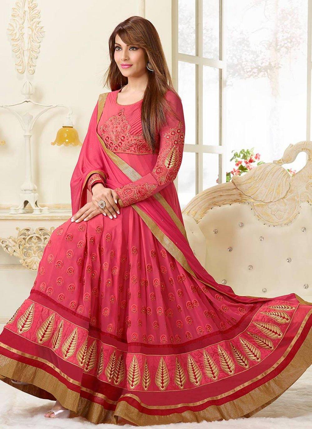 Bipasha Basu Pink Resham Work Length Anarkali Suit