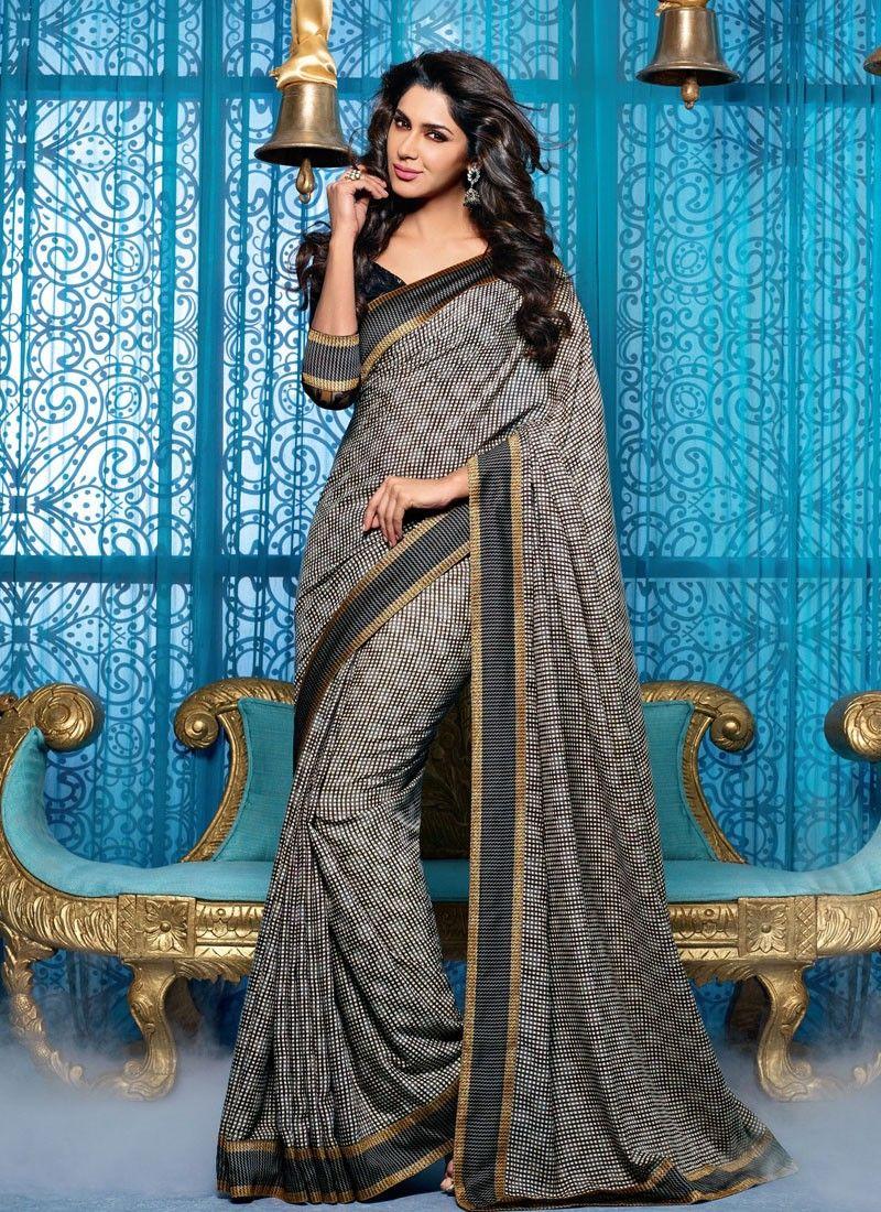 Black And Beige Art Silk Lingaa Movie Saree