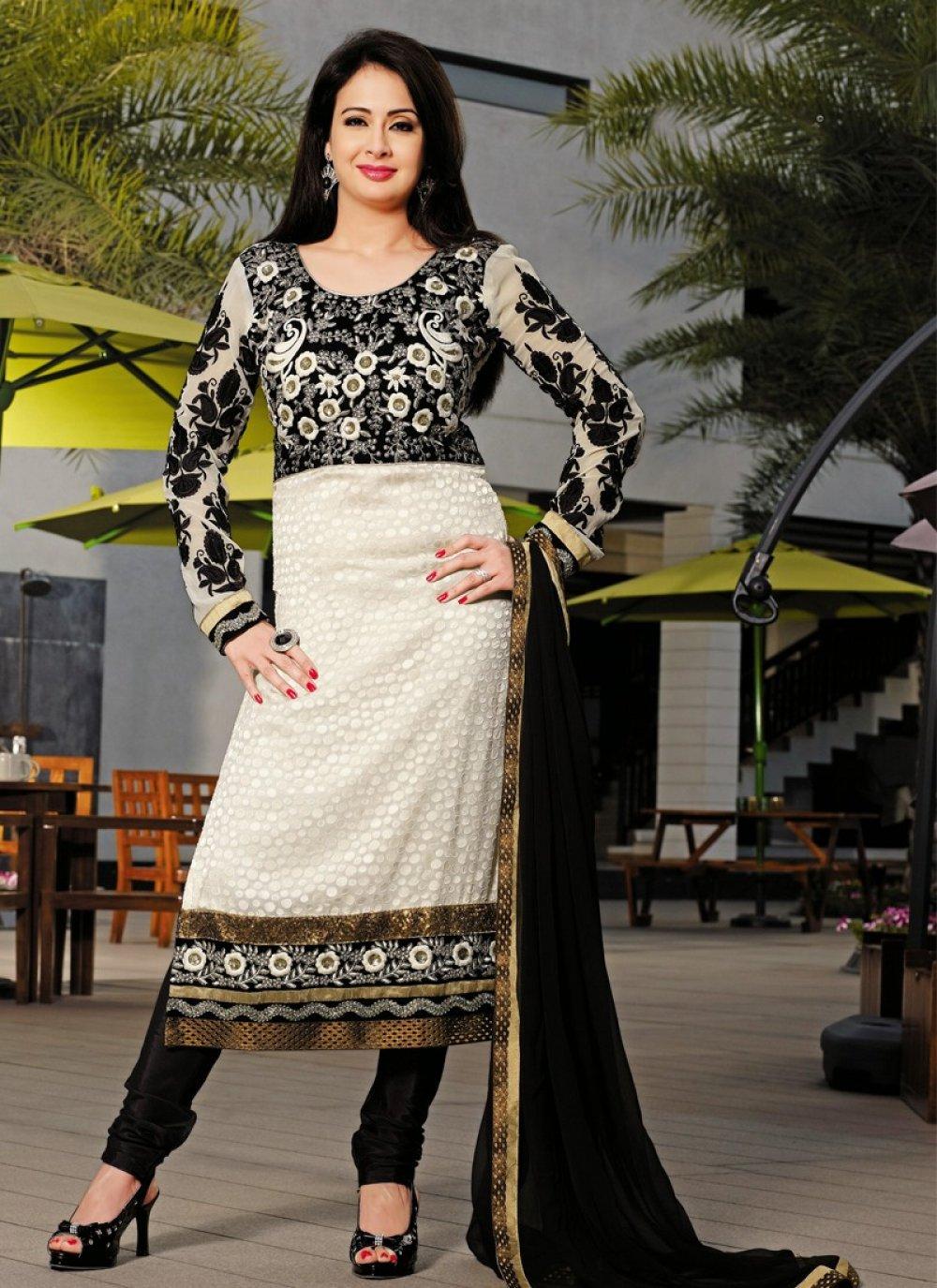 Black And Beige Resham Work Georgette Churidar Suit
