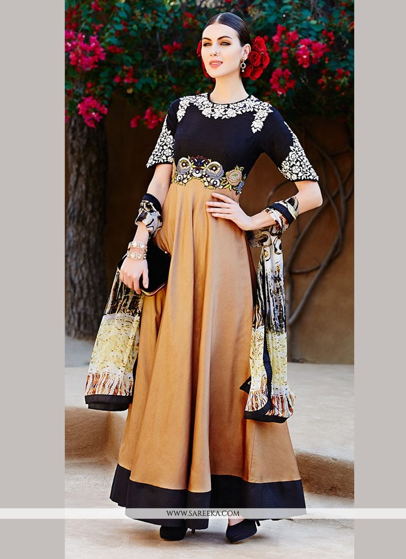 Black And Brown Pure Ion Anarkali Suit