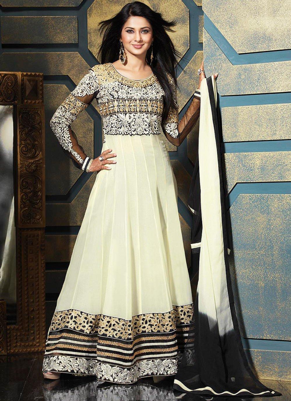 Black And Cream Border Resham Work Anarkali Suit