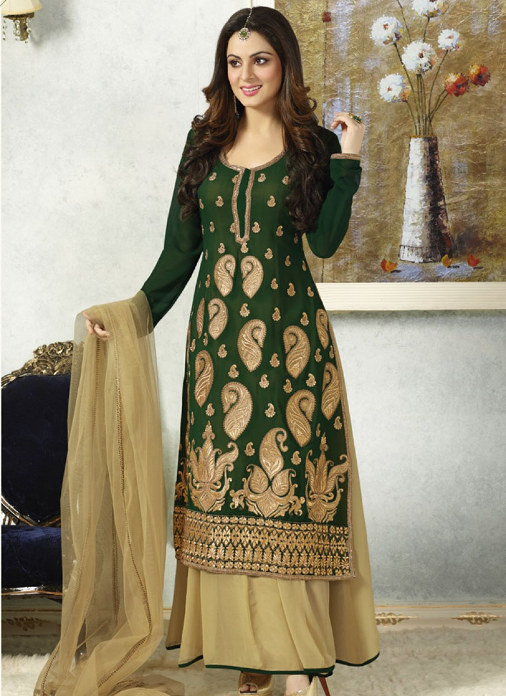 Green And Cream Embroidery Work Anarkali Slawar Suit