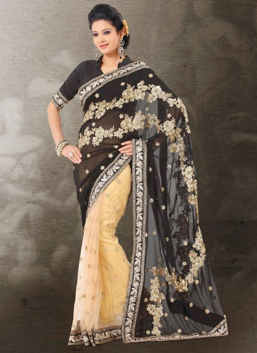 Black And Cream Embroidery Work Faux Georgette Saree