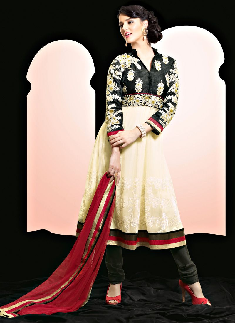 Black and Cream Faux Georgette Churidar Suit