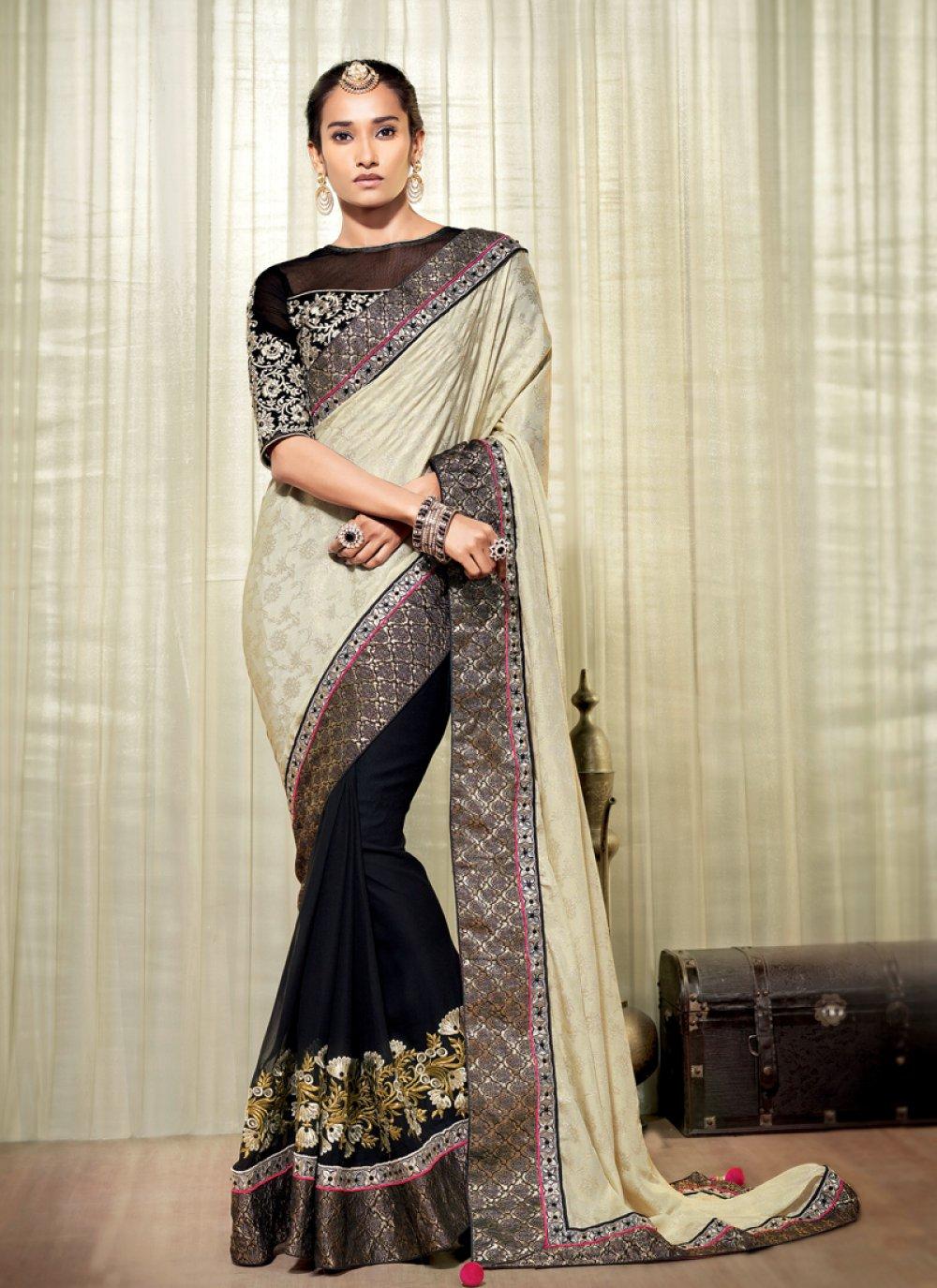 Black And Cream Jacquard Designer Saree