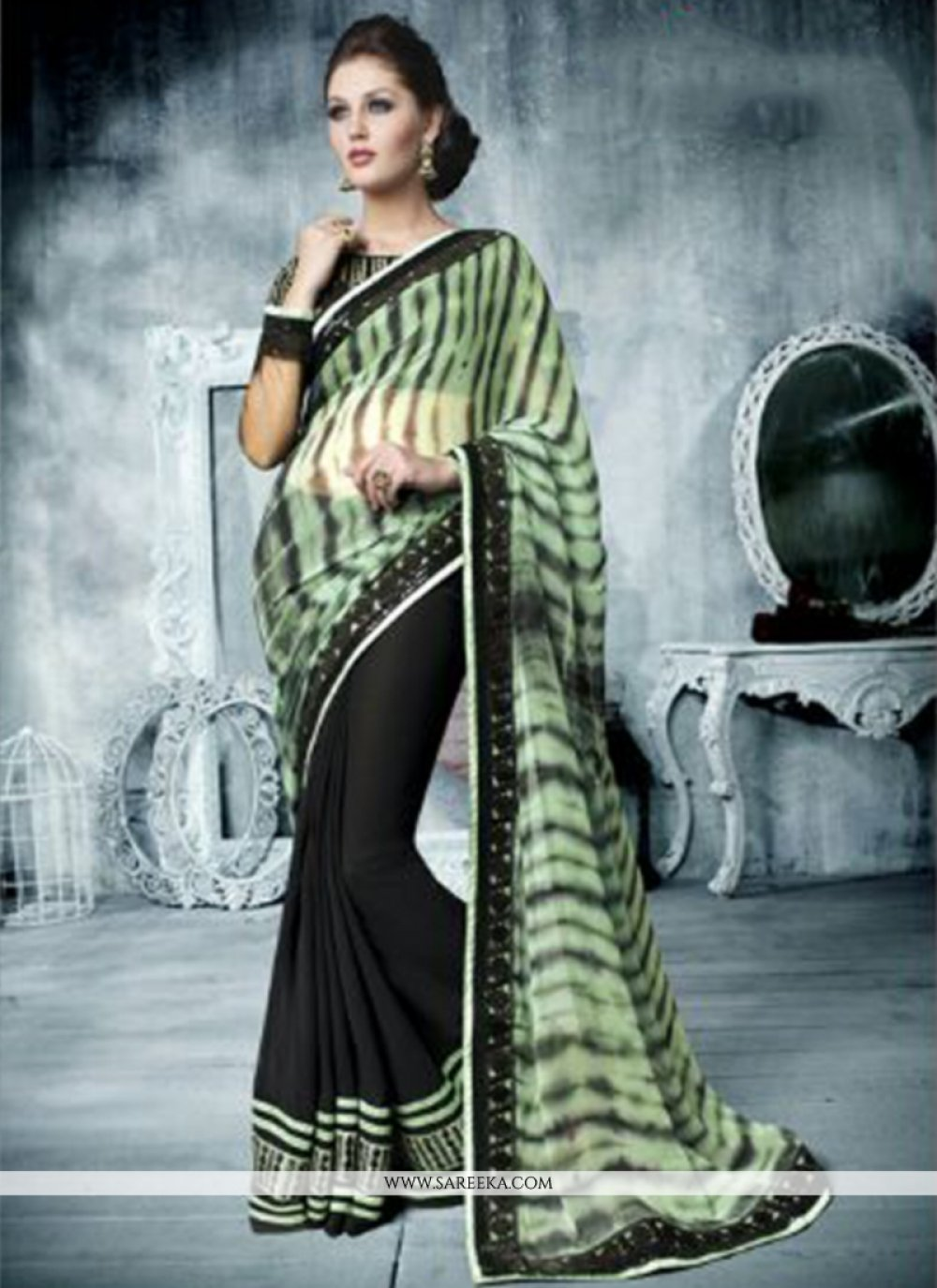 Black And Green Georgette Designer Saree