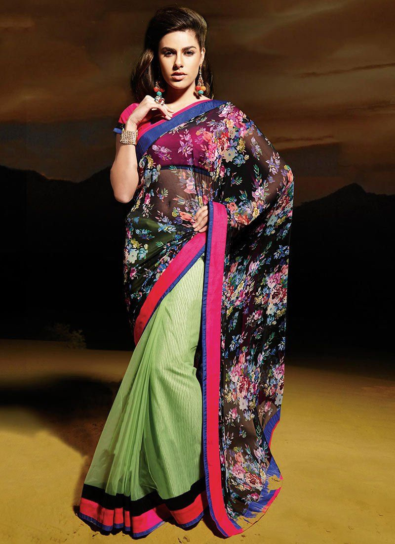 Black And Green Patch Georgette Half And Half Saree