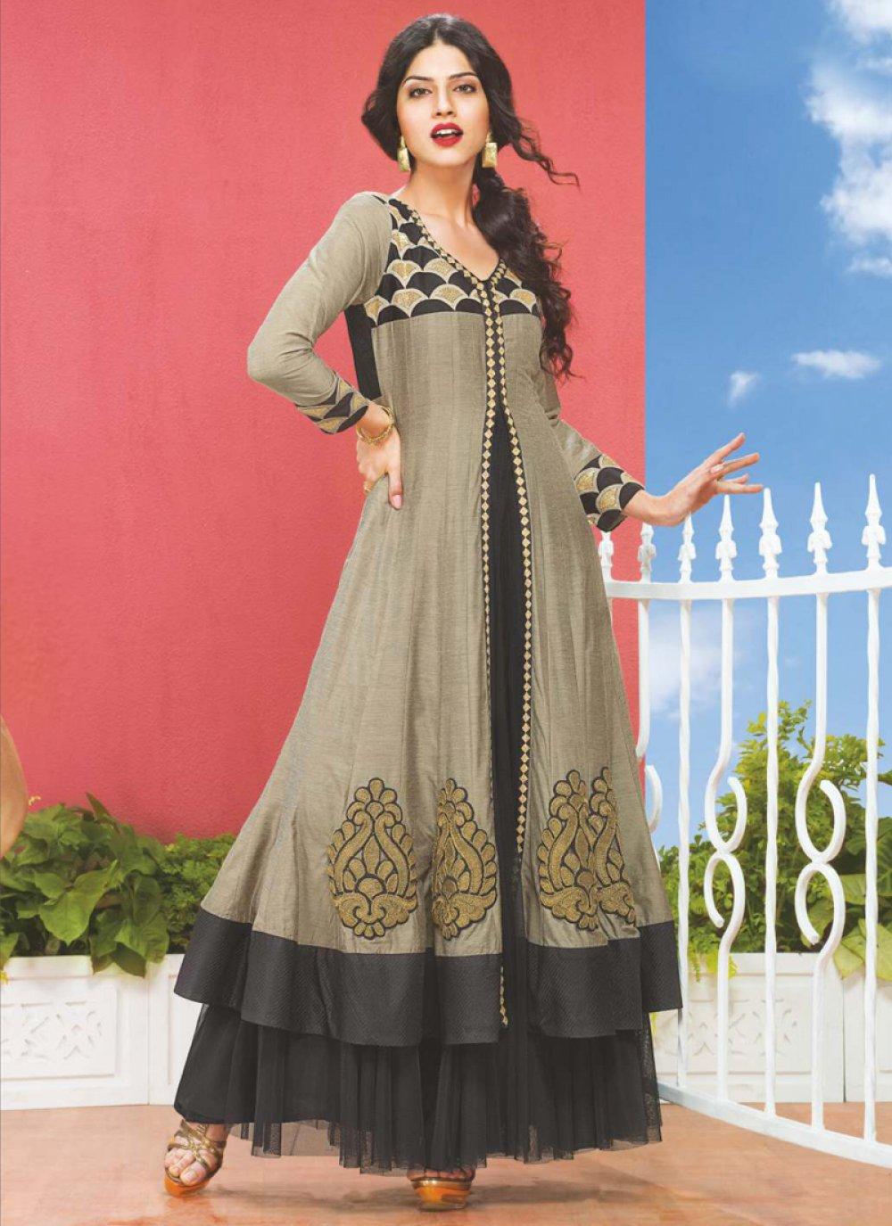 Black And Grey Dhupion Silk Anarkali Suit