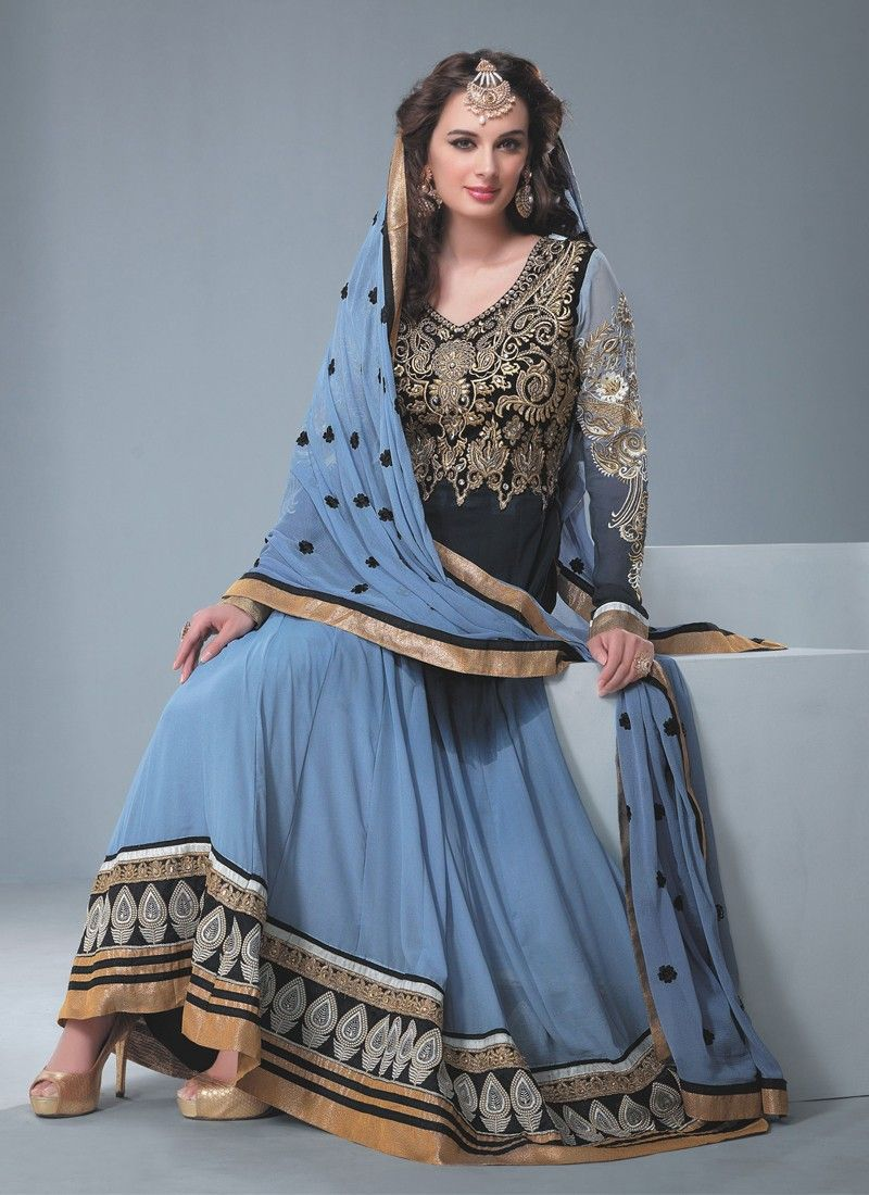 Black And Grey Embroidery Work Anarkali Suit