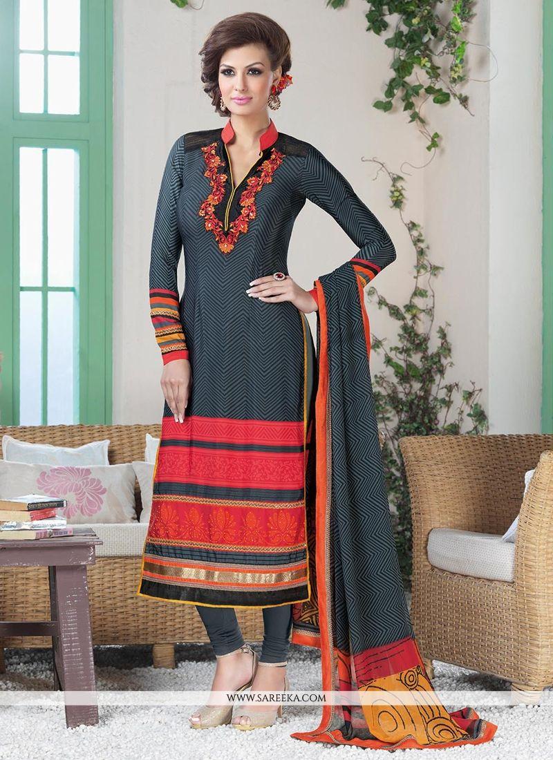 Black And Grey Printed Churidar Salwar Suit