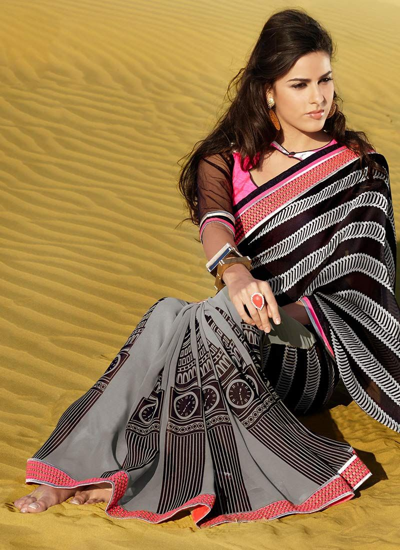 Black And Grey Printed Faux Georgette Saree