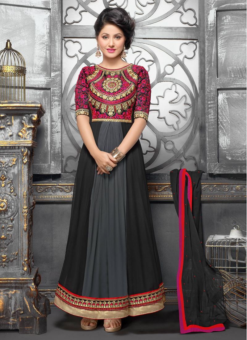 Black And Grey Shaded Georgette Anarkali Suit
