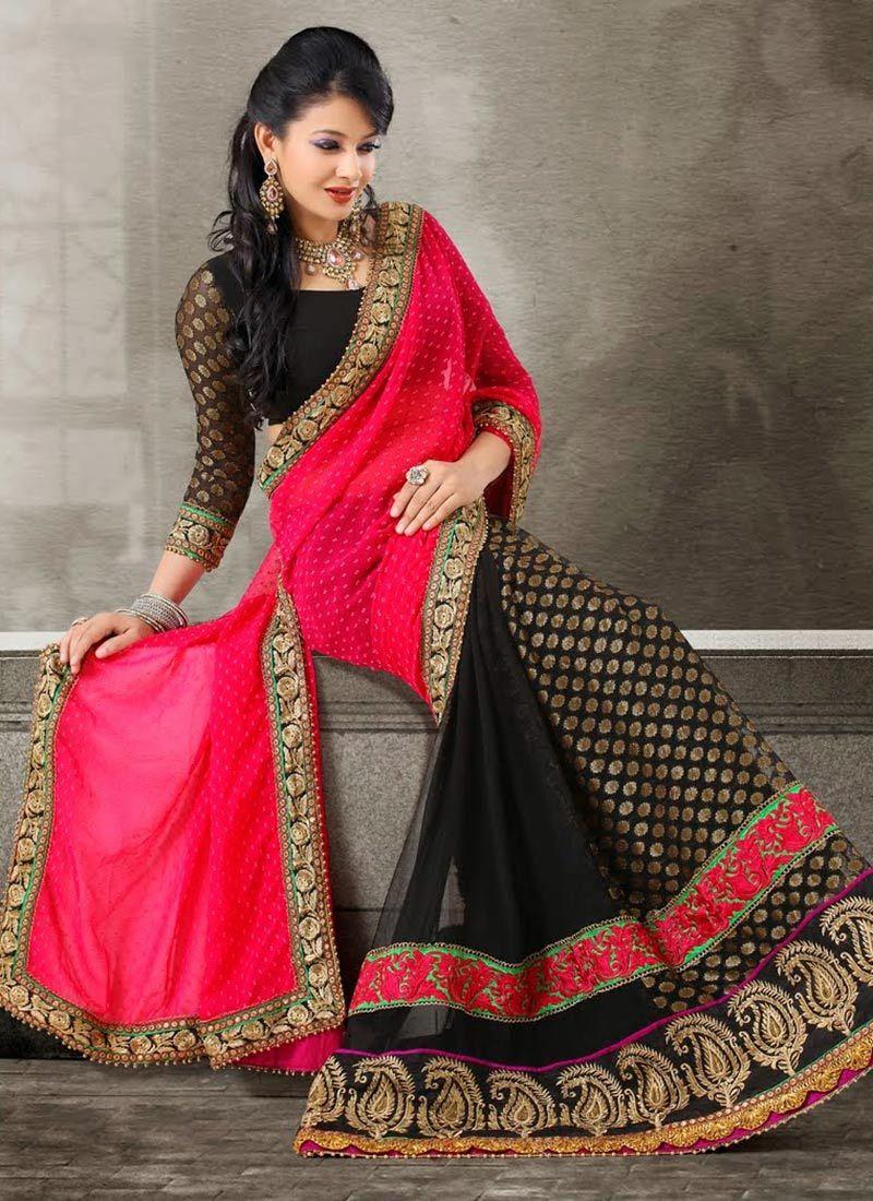 Black And Magenta Embroidery Viscose Half And Half Saree