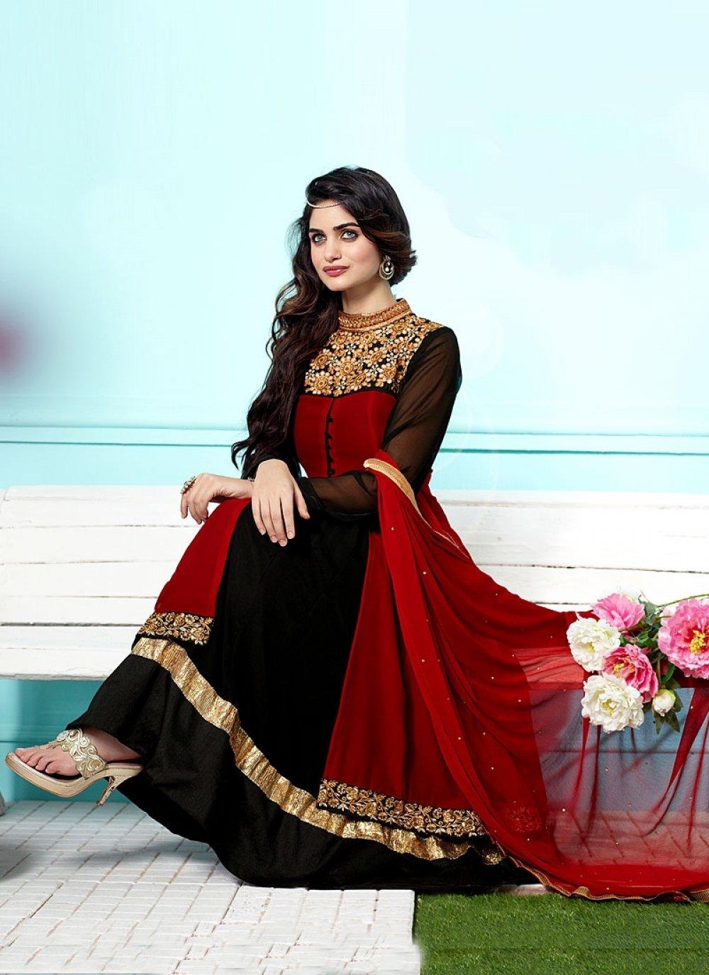 Black And Maroon Anarkali Salwar Suit