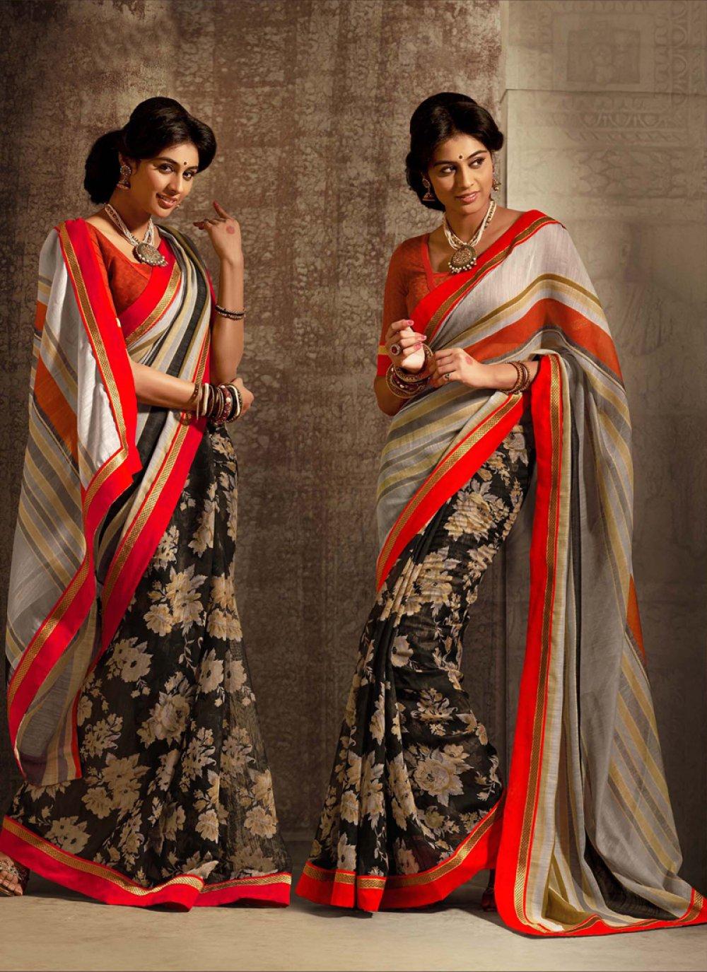 Black And Orange Cotton Silk Saree