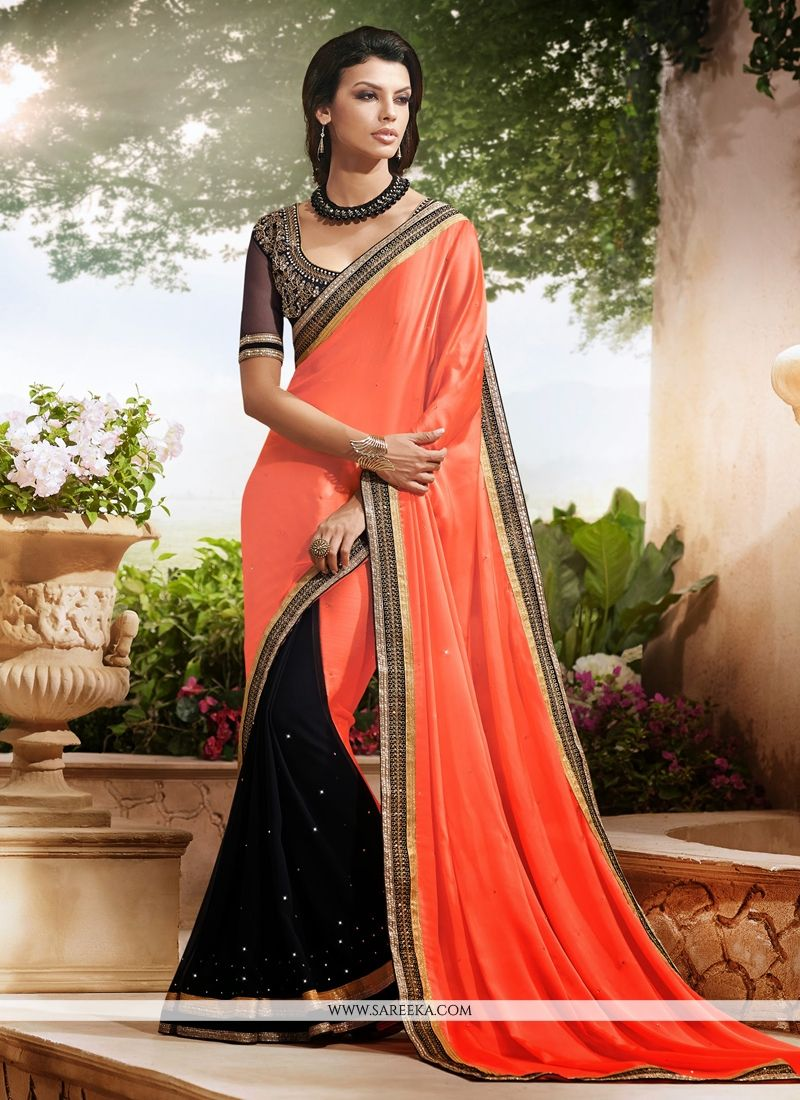 Black And Orange Satin Chiffon Casual Saree