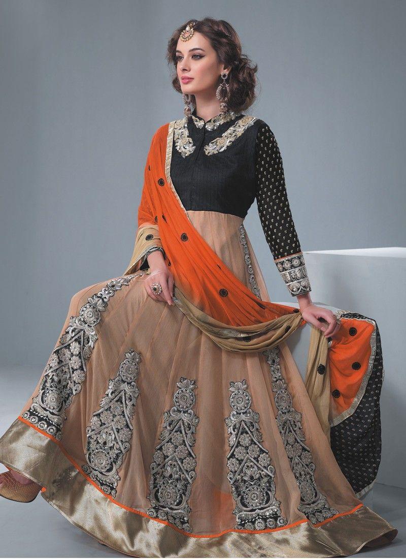 Black And Peach Resham Work Net Anarkali Suit