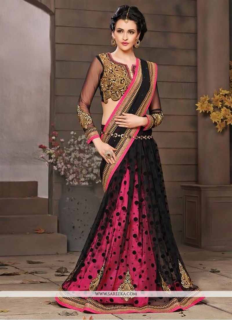 Black And Pink Net And Georgette  Saree