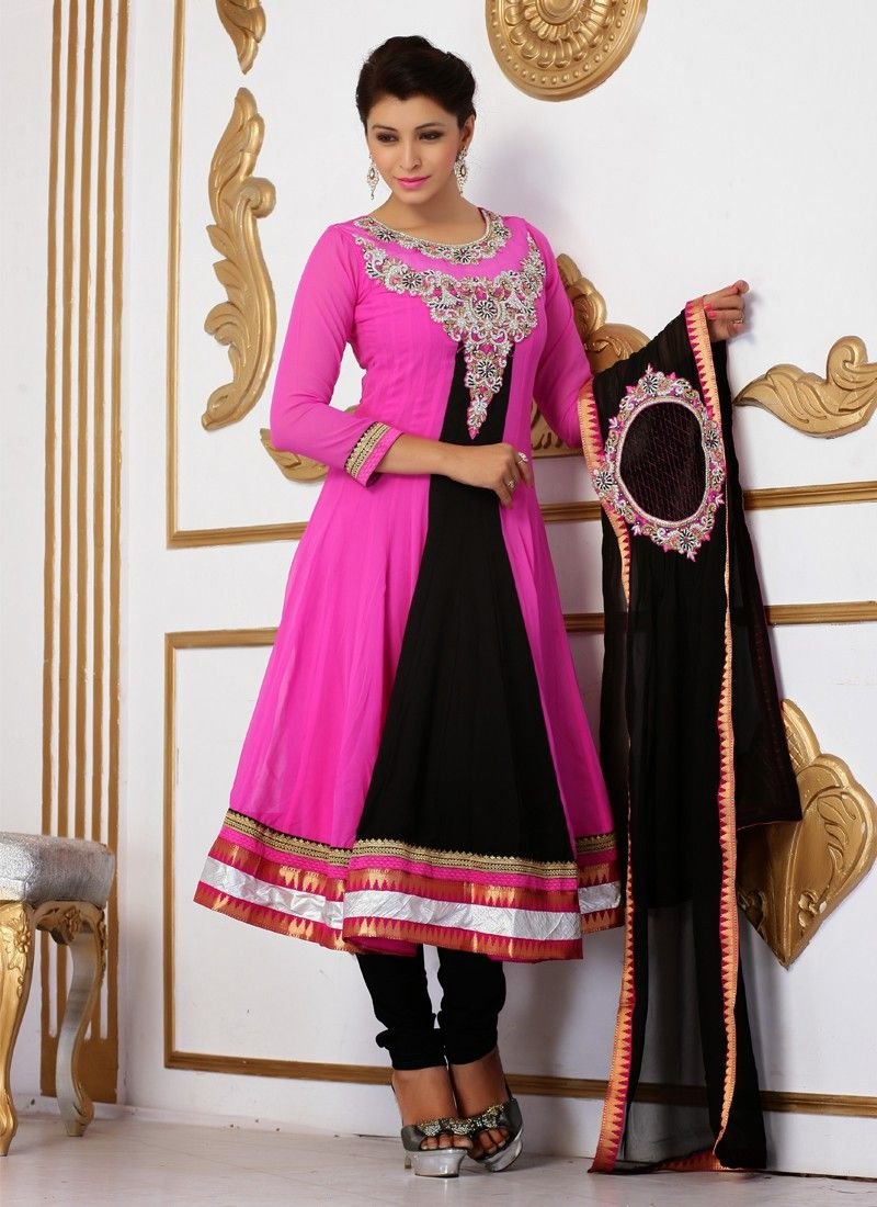 Black And Pink Patch Border Work Churidar Suit