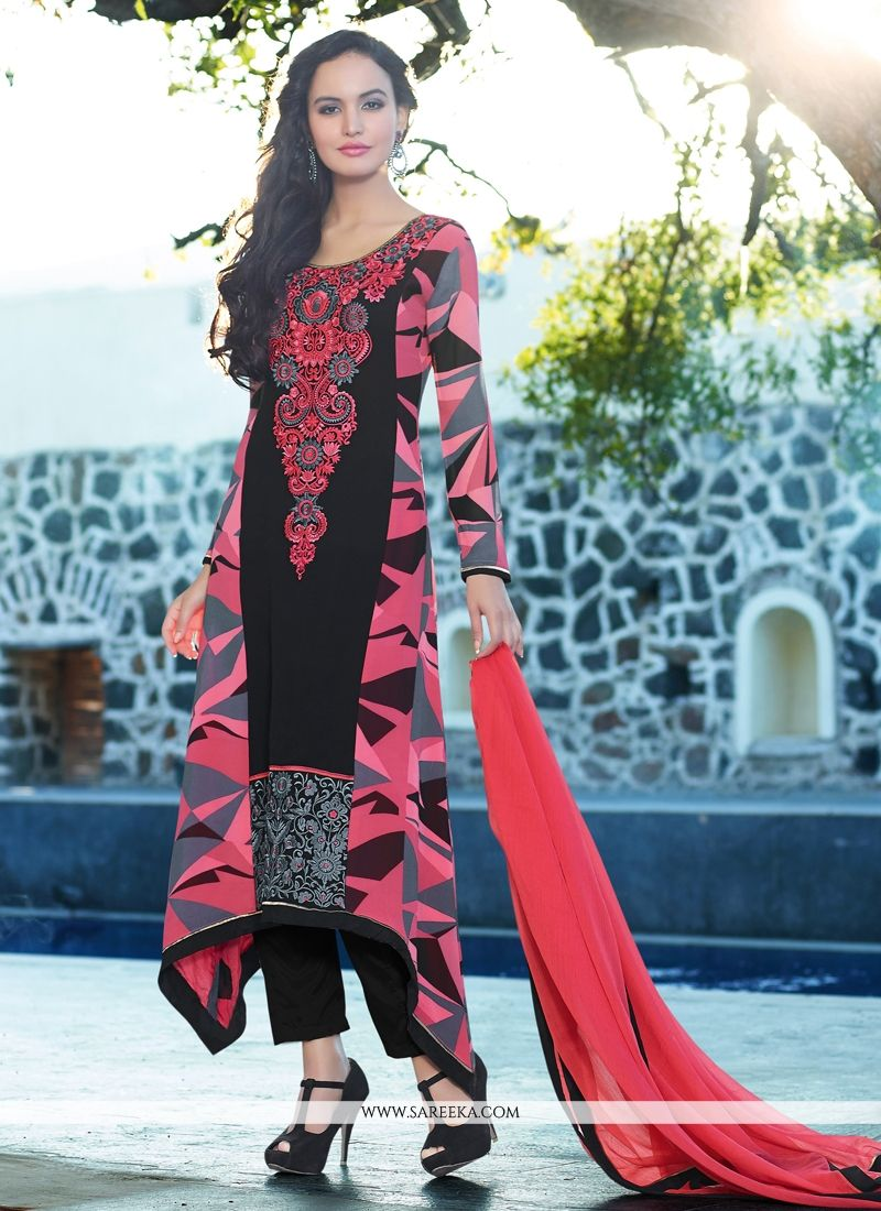 Black And Pink Printed Pant Style Salwar Suit