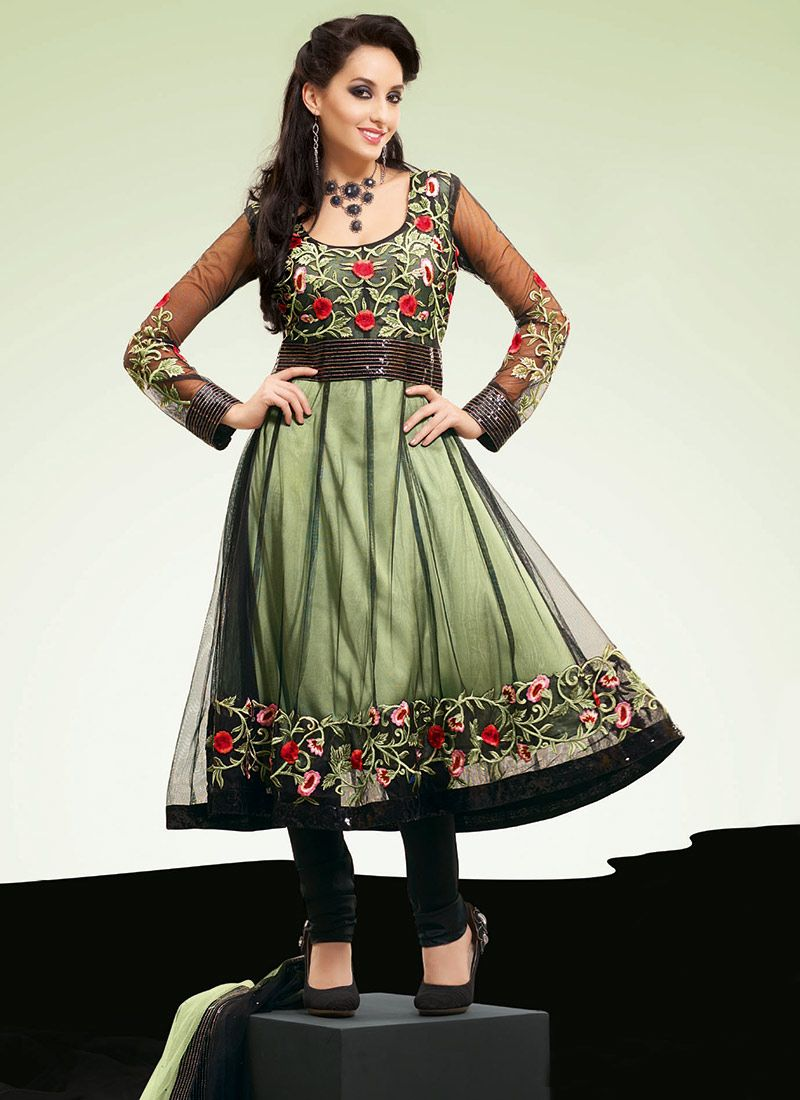 Black and Pista Green Net Churidar Suit