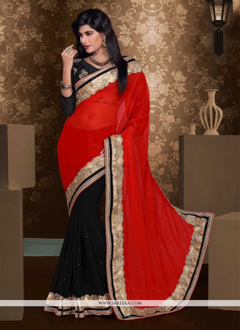 Black And Red Chiffon And Georgette Saree