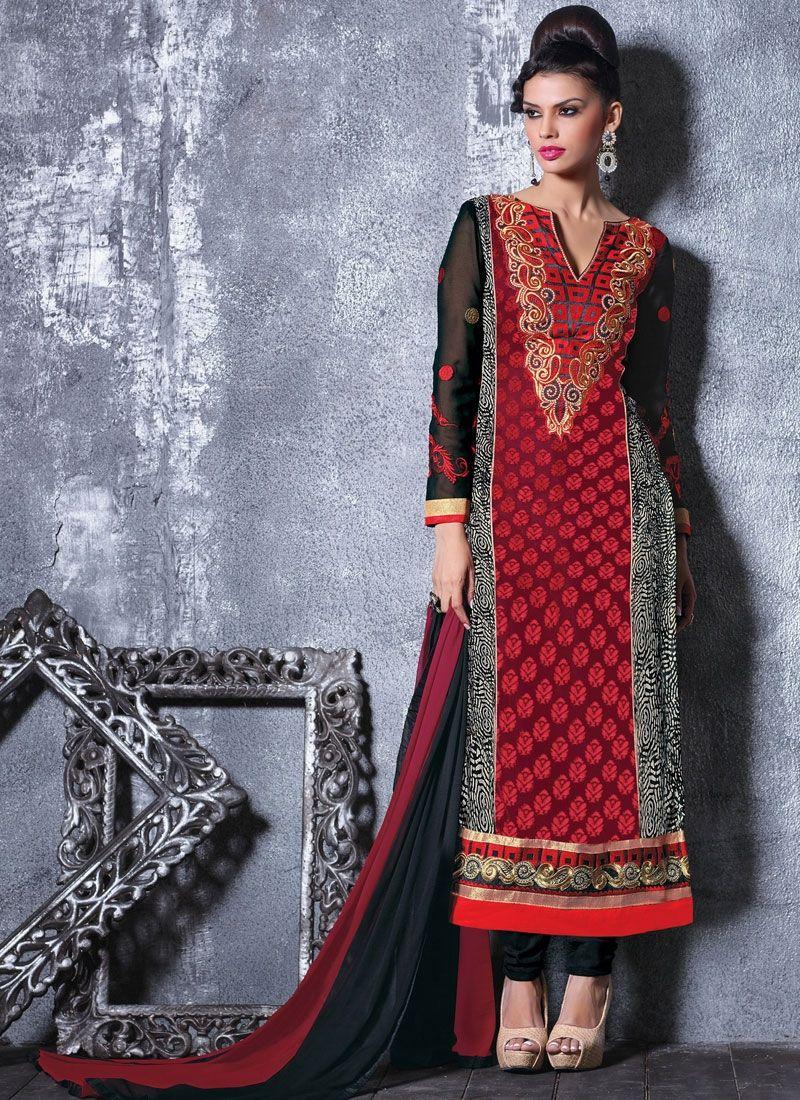 Black And Red Churidar Salwar Kameez