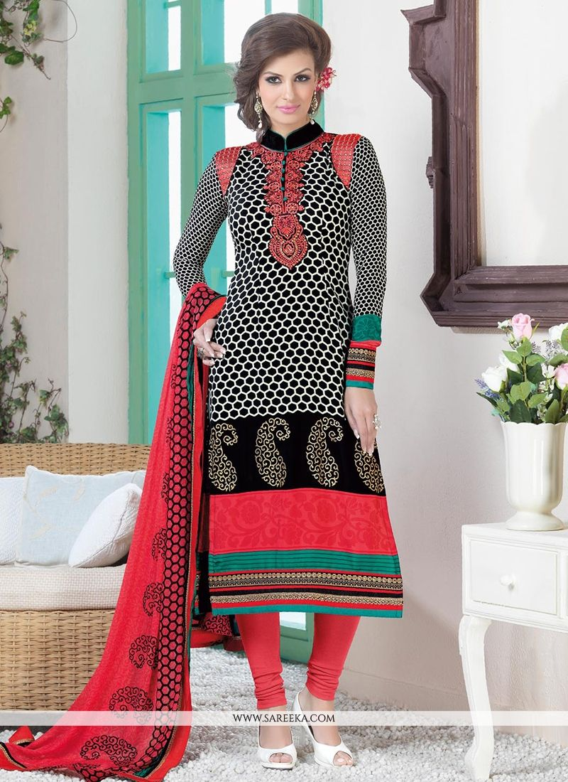 Black And Red Crepe Silk Churidar Suit