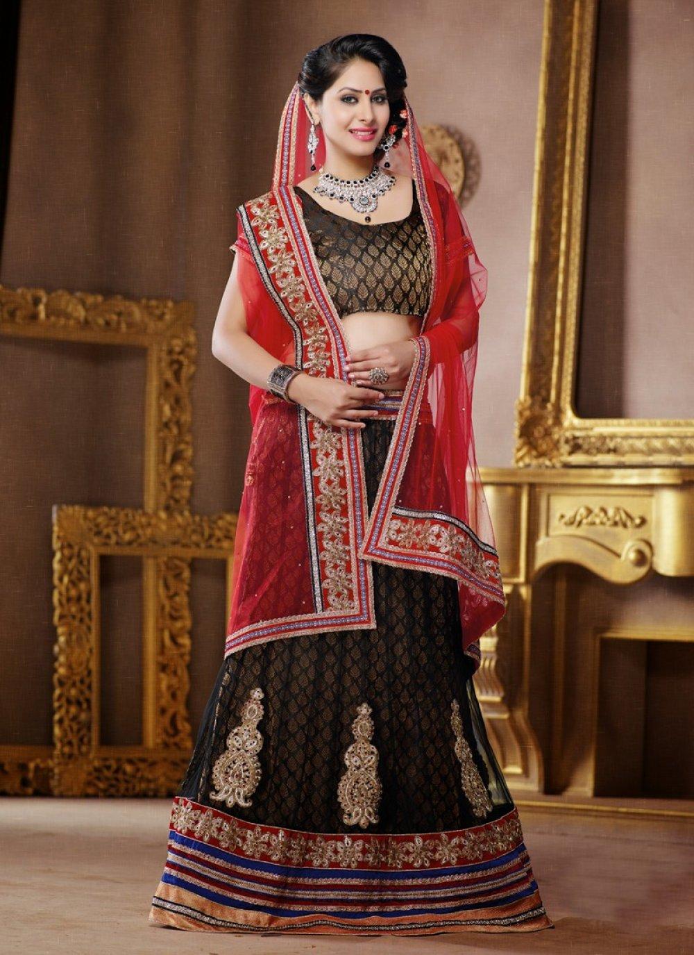 Black And Red Embroidery Work Net Lehenga Choli