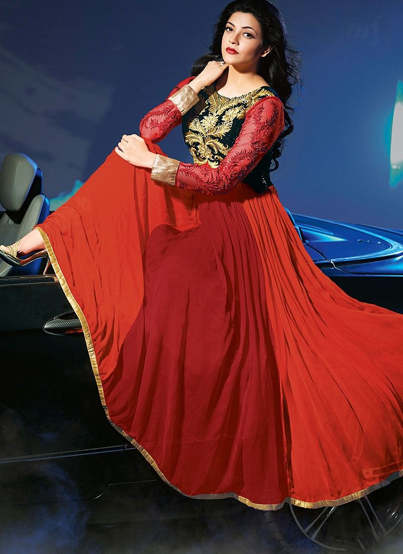 Black And Red Embroidey Georgette Anarkali Suit