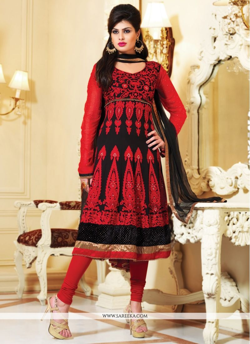 Black And Red Faux Georgette Anarkali Suit