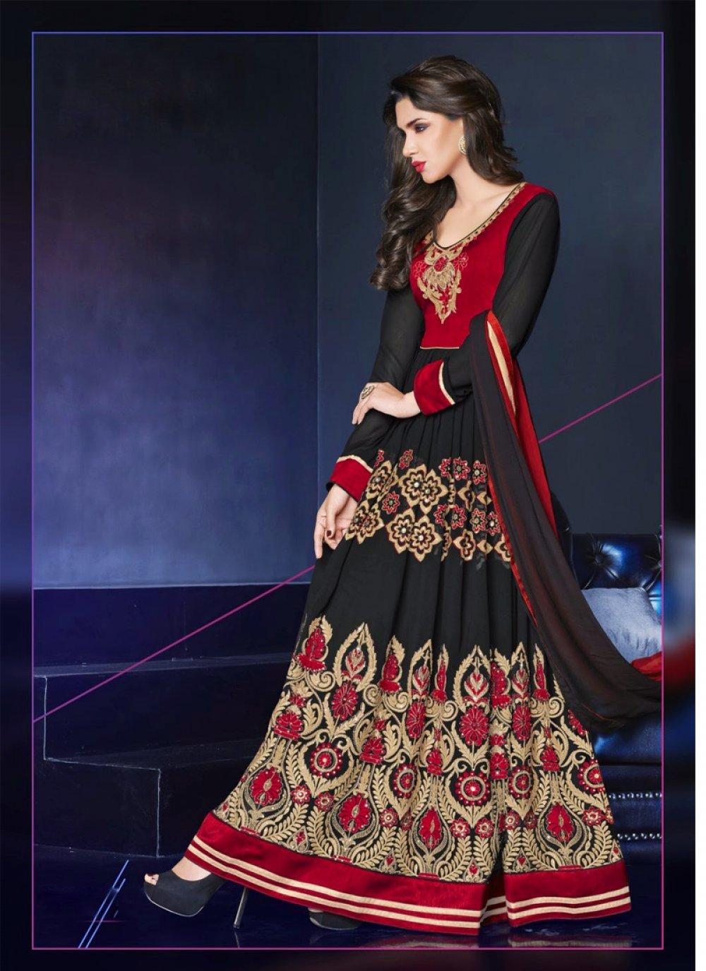 Black And Red Georgette Anarkali Suit