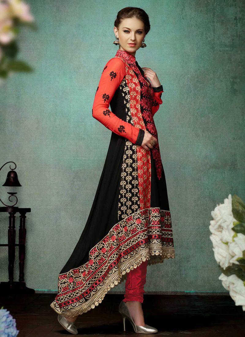 Black And Red Georgette Churidar Salwar Suit