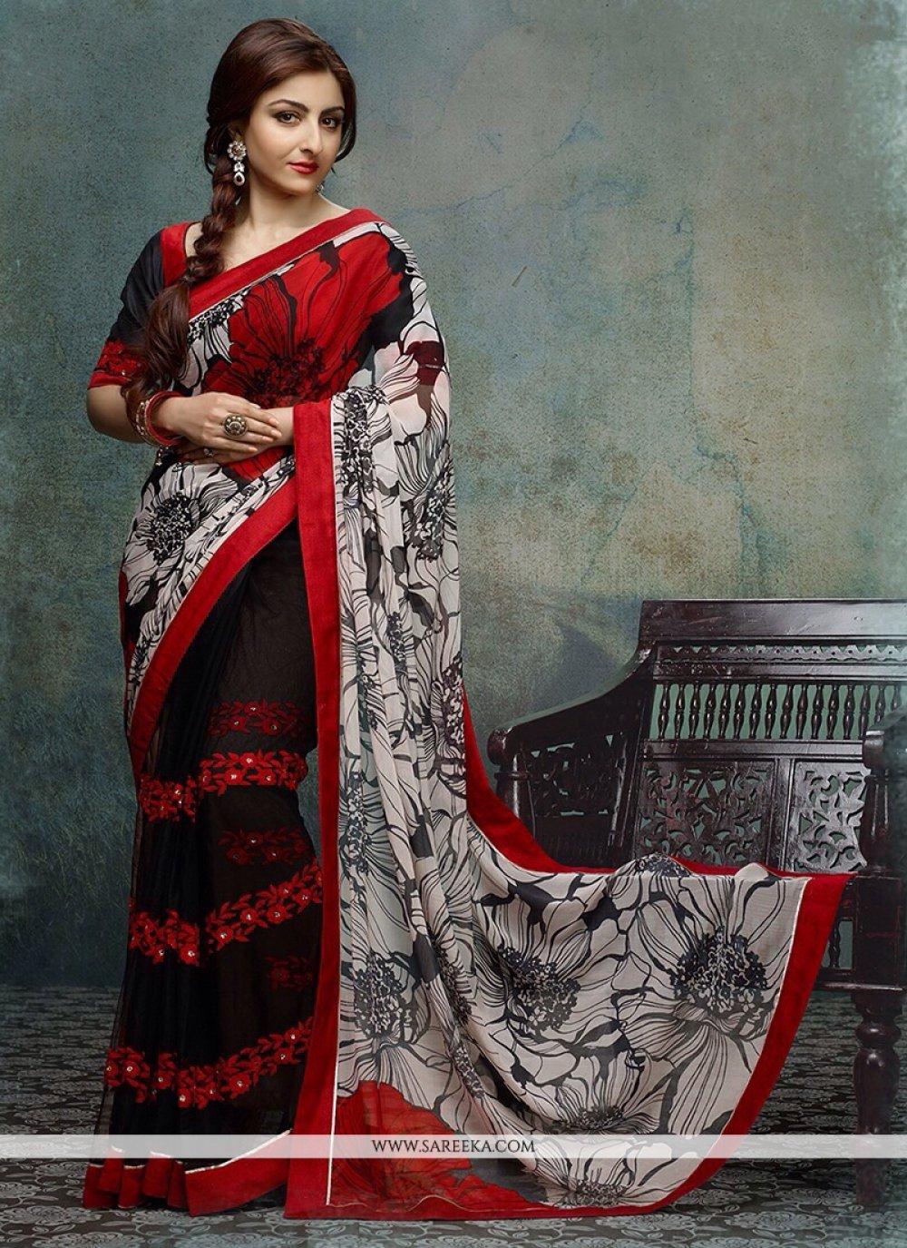 Soha Ali Khan Black And Red Printed Net Designer Saree