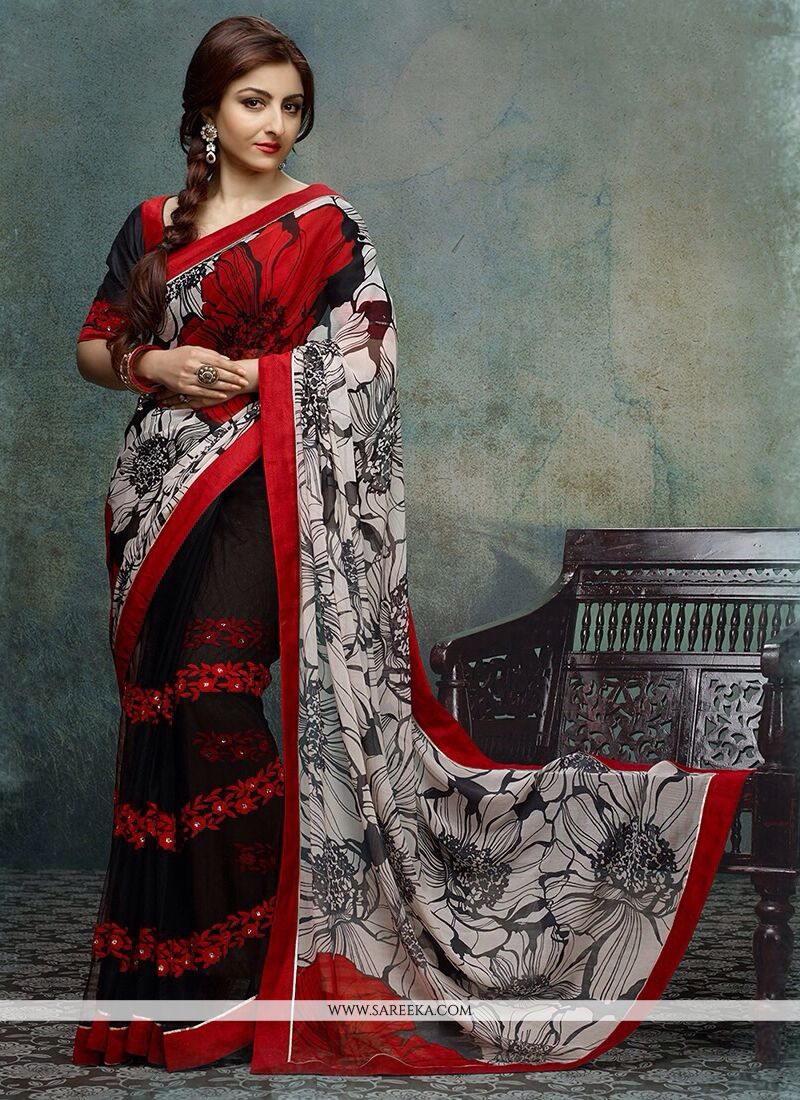 Soha Ali Khan Black And Red Printed Net Designer Saree
