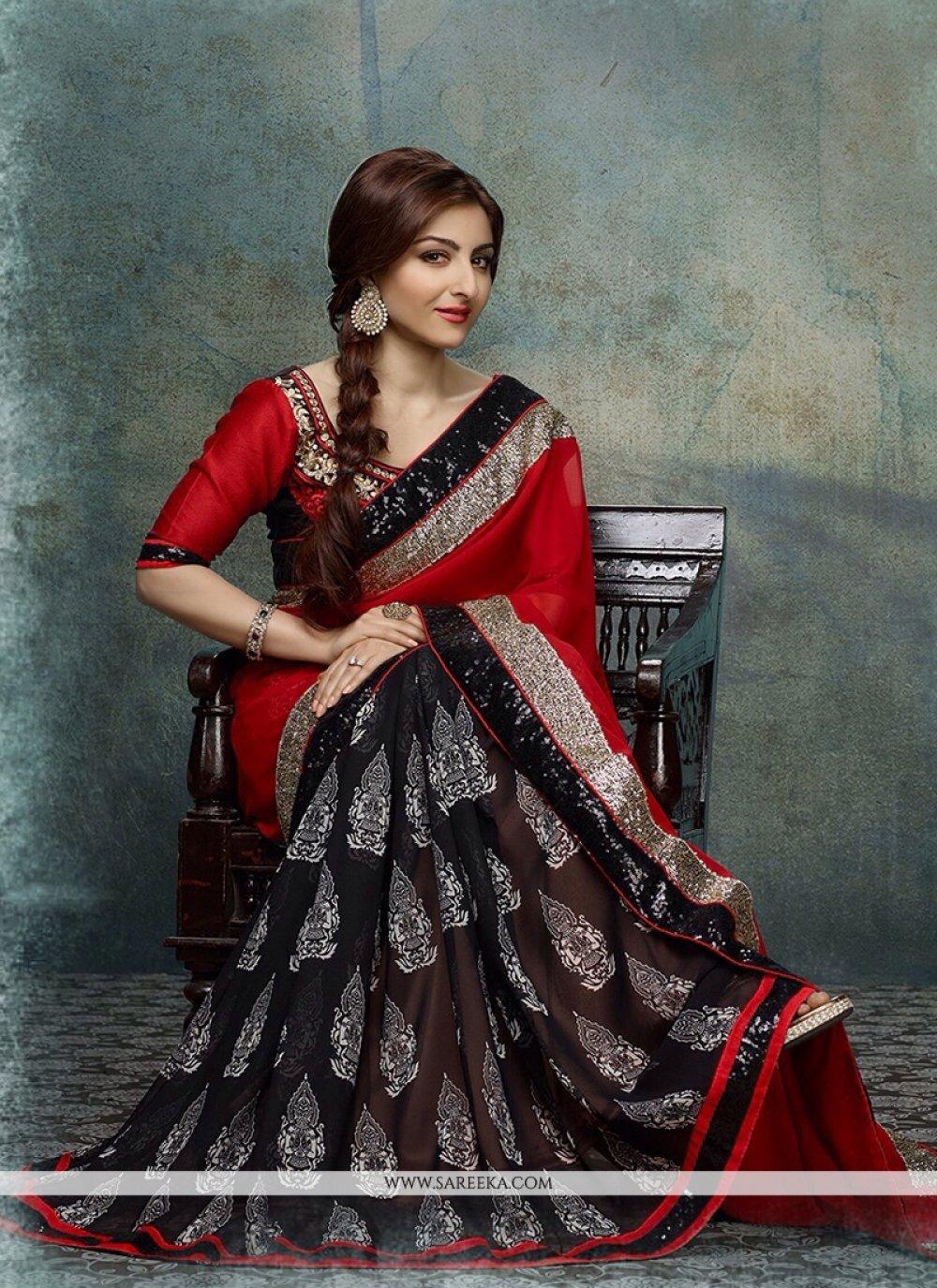 Soha Ali Khan Black And Red Printed Party Wear Saree