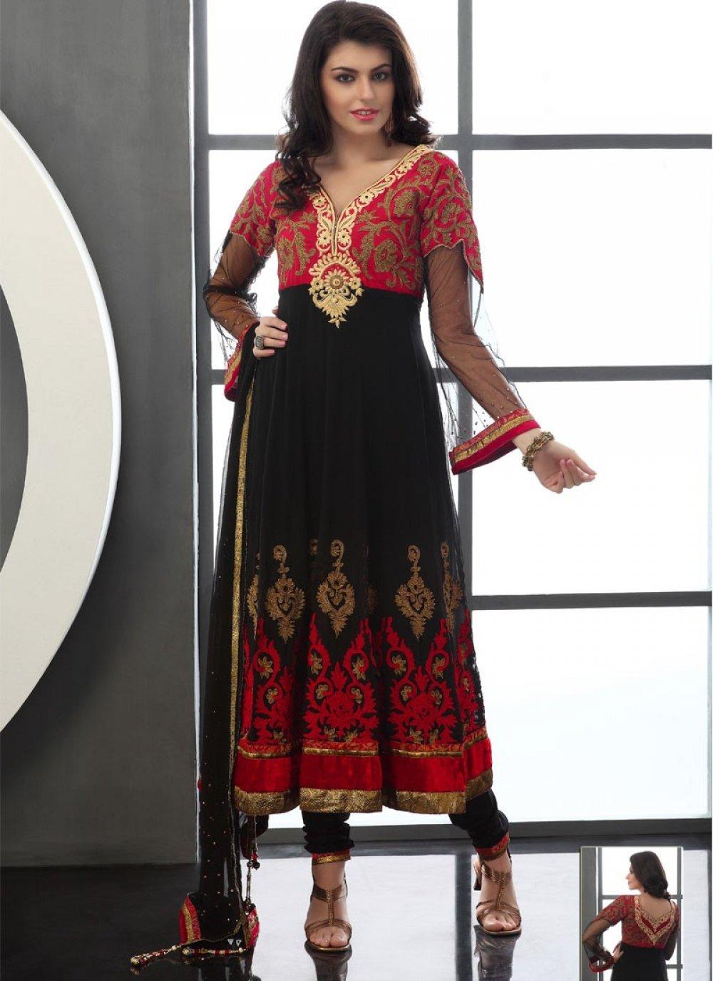 Black And Red Viscose Anarkali Suit