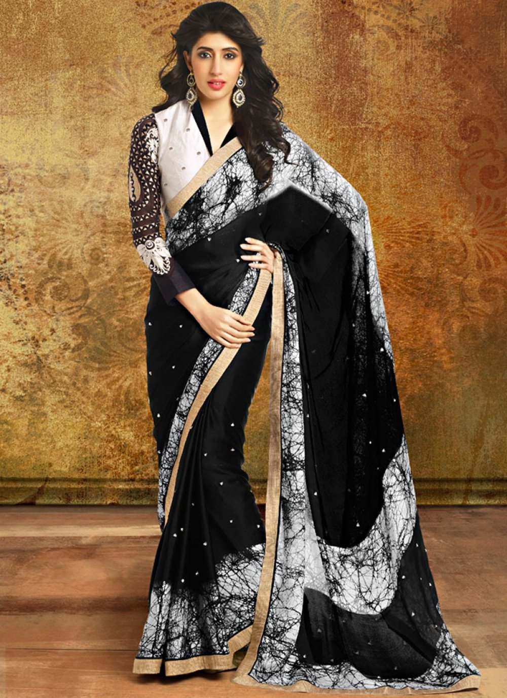 Black And White Color Patch Border Printed Saree