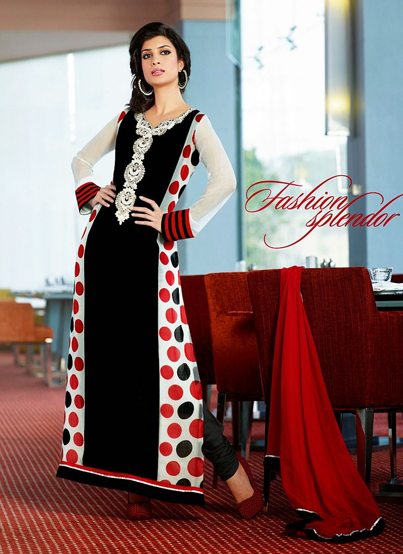 Black And White Patch Border Work Churidar Suit
