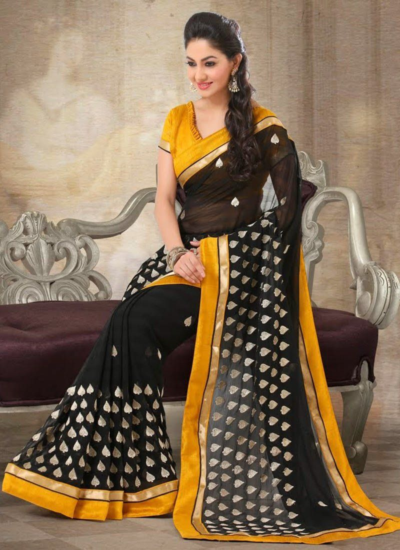 Black And Yellow Patch Work Faux Chiffon Saree