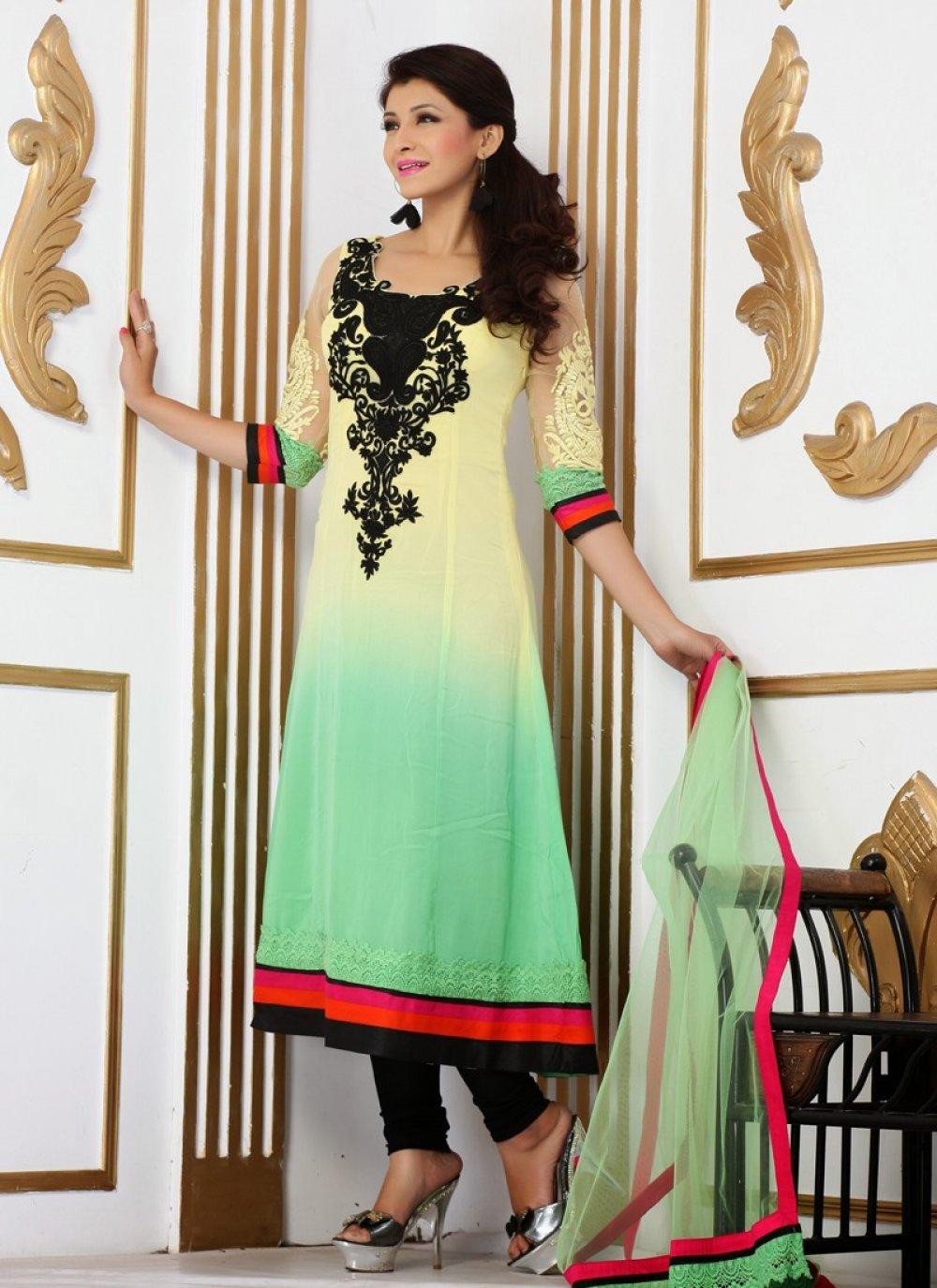 Black And Yellow Resham Work Churidar Salwar Suit