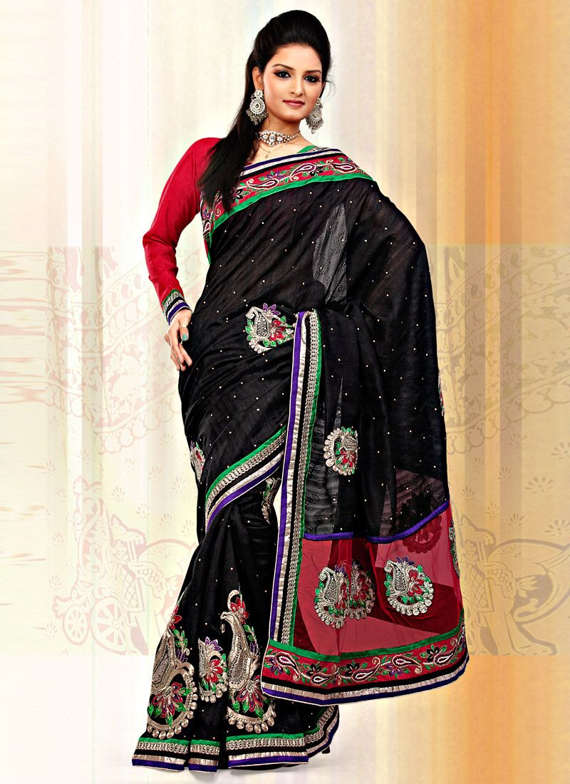 Black Art Bhagalpuri Jacquard Silk And Net Saree