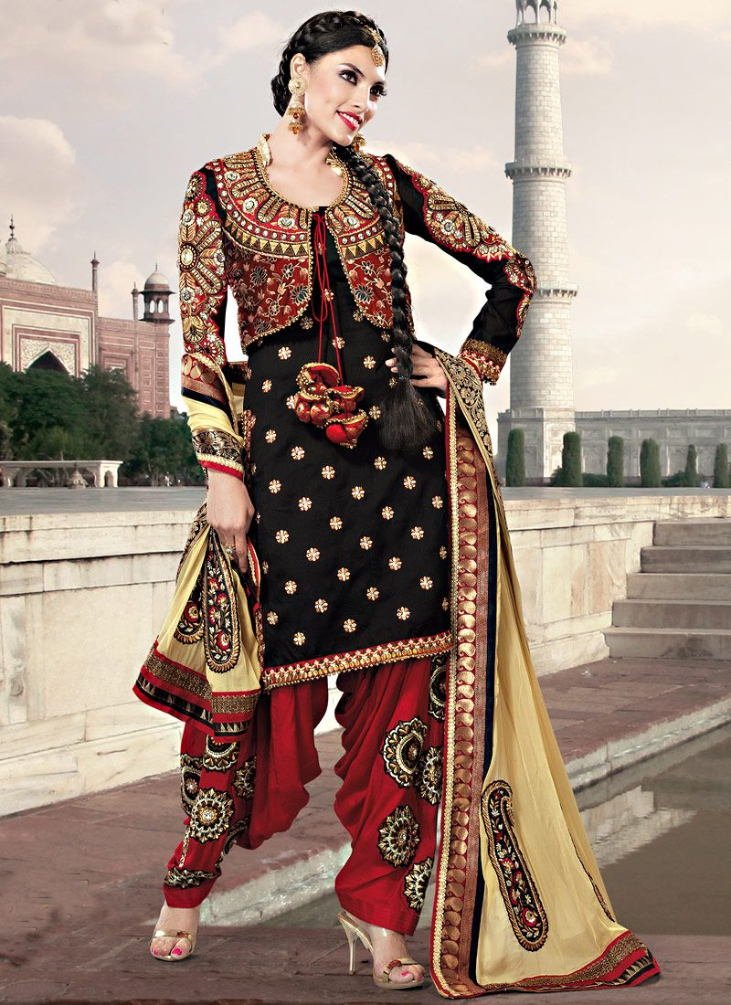 Black Art Silk Embroidered Salwar Suit