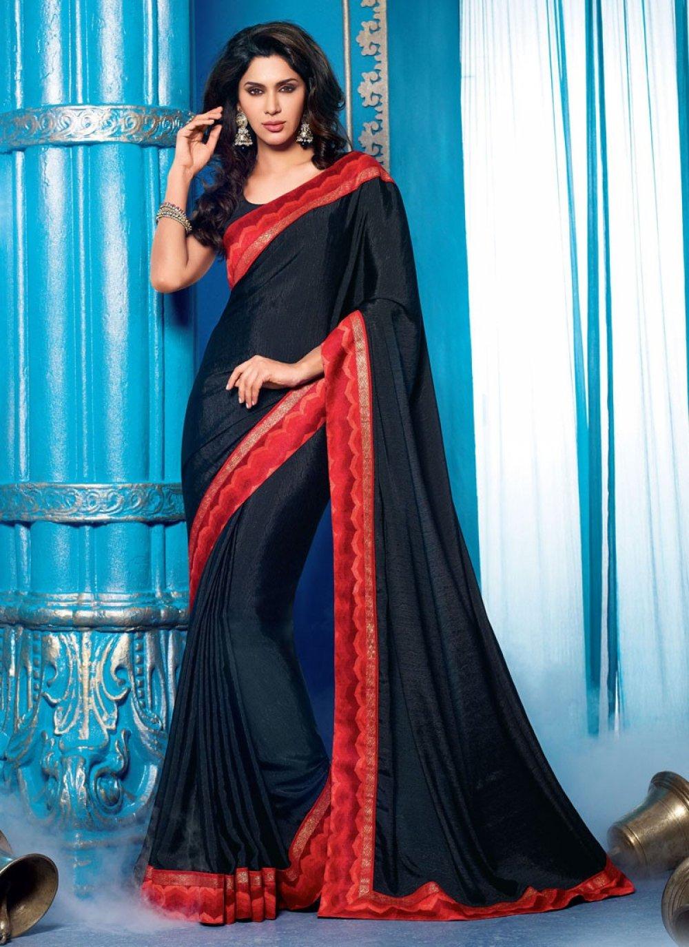 Black Art Silk Lingaa Movie Style Saree