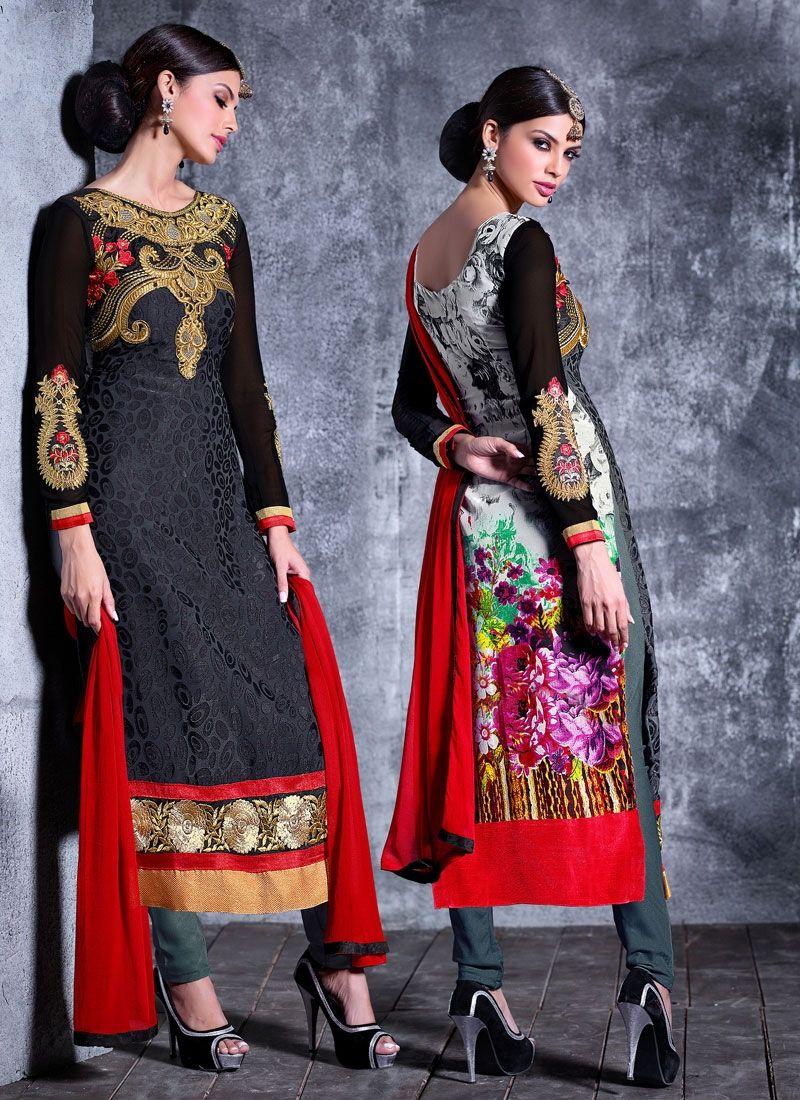 Black Brasso Georgette Churidar Suit