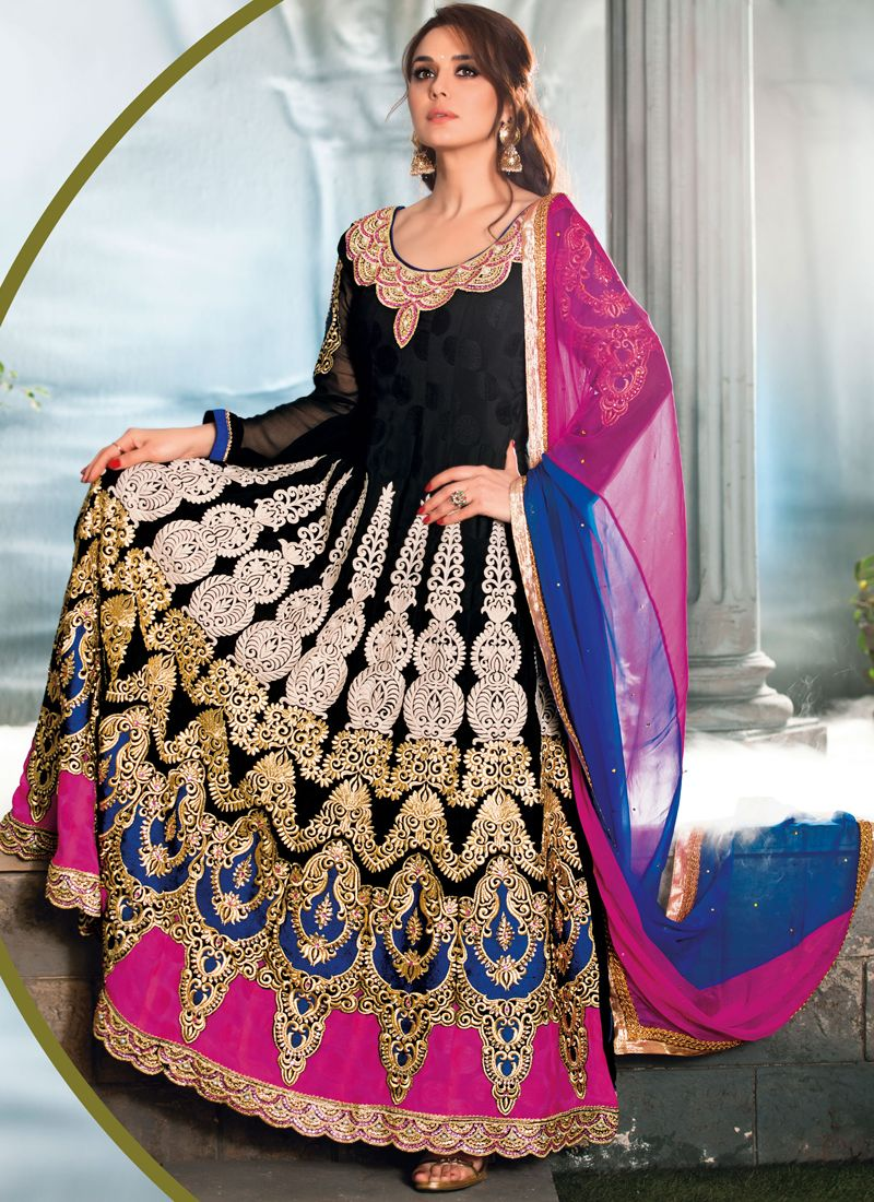 Colour Resham Jacquard Designer Anarkali Suit
