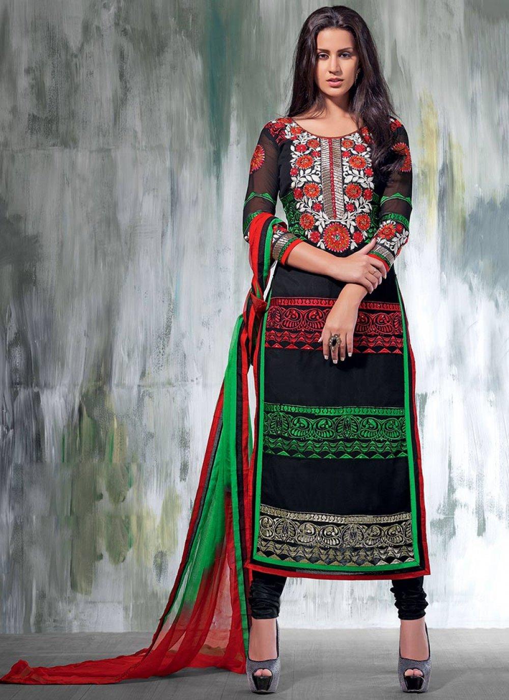 Black Embroidery Churidar Suit