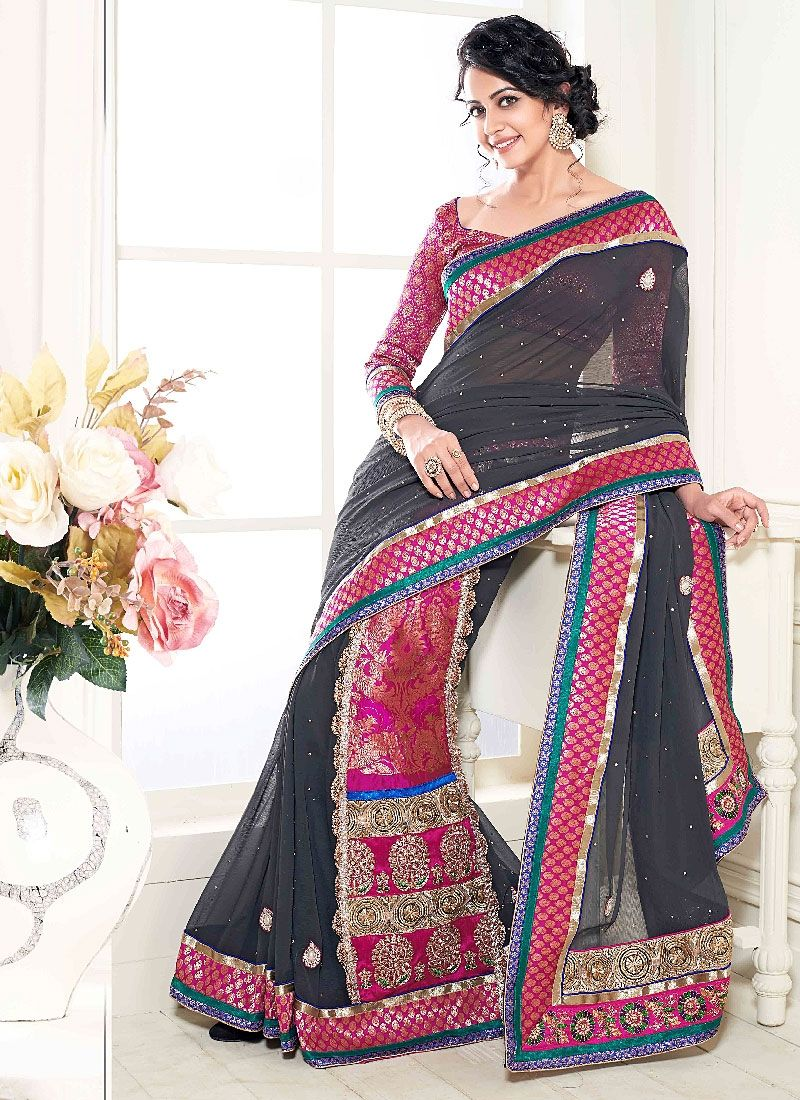 Black Embroidery Work Georgette Designer Saree