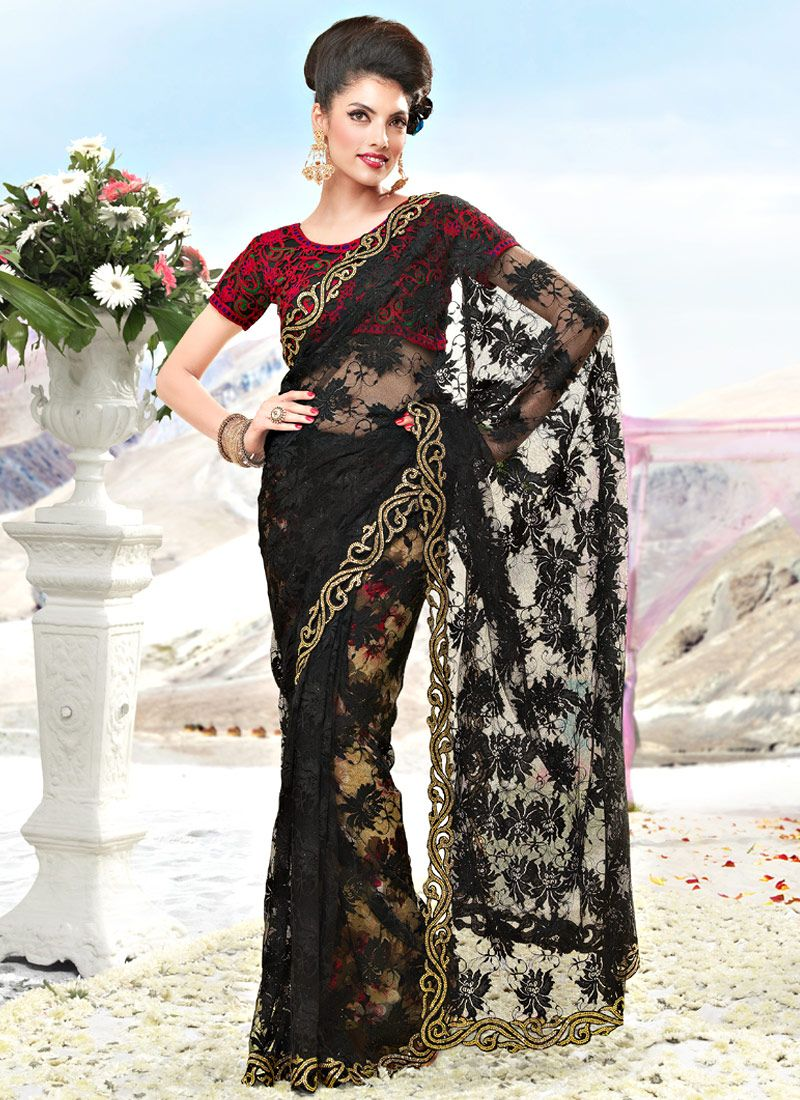 Black Fancy Net Saree