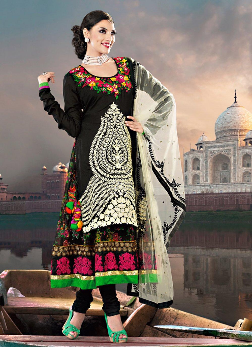 Black Faux Georgette And Art Silk Anarkali Suit